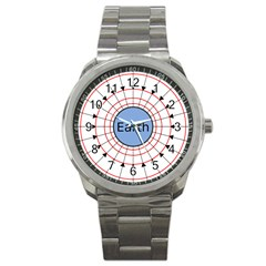 Magnetik Earth s Gravitational Line Triangle Sport Metal Watch by Mariart