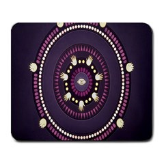 Mandalarium Hires Hand Eye Purple Large Mousepads by Mariart