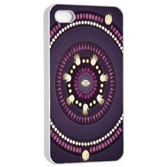 Mandalarium Hires Hand Eye Purple Apple Iphone 4/4s Seamless Case (white) by Mariart