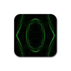 Green Foam Waves Polygon Animation Kaleida Motion Rubber Coaster (square)  by Mariart