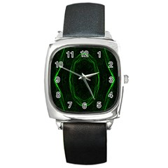 Green Foam Waves Polygon Animation Kaleida Motion Square Metal Watch by Mariart