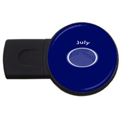 Moon July Blue Space Usb Flash Drive Round (4 Gb) by Mariart
