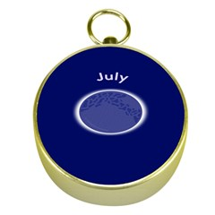 Moon July Blue Space Gold Compasses by Mariart