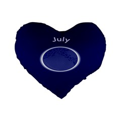 Moon July Blue Space Standard 16  Premium Flano Heart Shape Cushions by Mariart