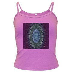 Peaceful Flower Formation Sparkling Space Dark Spaghetti Tank