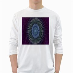 Peaceful Flower Formation Sparkling Space White Long Sleeve T Shirts