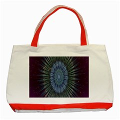Peaceful Flower Formation Sparkling Space Classic Tote Bag (red) by Mariart