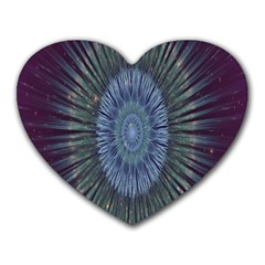 Peaceful Flower Formation Sparkling Space Heart Mousepads by Mariart