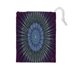 Peaceful Flower Formation Sparkling Space Drawstring Pouches (large)  by Mariart