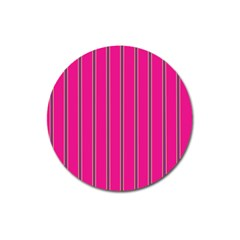 Pink Line Vertical Purple Yellow Fushia Magnet 3  (round) by Mariart