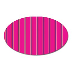 Pink Line Vertical Purple Yellow Fushia Oval Magnet by Mariart