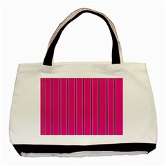 Pink Line Vertical Purple Yellow Fushia Basic Tote Bag by Mariart