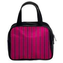 Pink Line Vertical Purple Yellow Fushia Classic Handbags (2 Sides) by Mariart