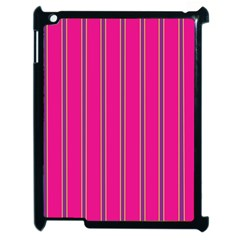 Pink Line Vertical Purple Yellow Fushia Apple Ipad 2 Case (black) by Mariart