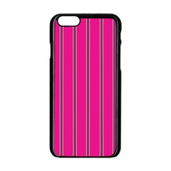 Pink Line Vertical Purple Yellow Fushia Apple Iphone 6/6s Black Enamel Case by Mariart