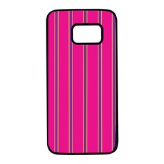 Pink Line Vertical Purple Yellow Fushia Samsung Galaxy S7 Black Seamless Case by Mariart