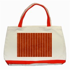 Line Vertical Orange Classic Tote Bag (red) by Mariart