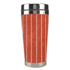 Line Vertical Orange Stainless Steel Travel Tumblers by Mariart