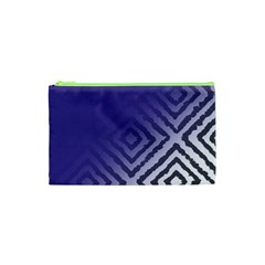 Plaid Blue White Cosmetic Bag (xs) by Mariart