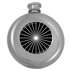 Ray White Black Line Space Round Hip Flask (5 Oz) by Mariart