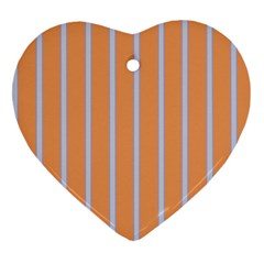 Rayures Bleu Orange Heart Ornament (two Sides) by Mariart