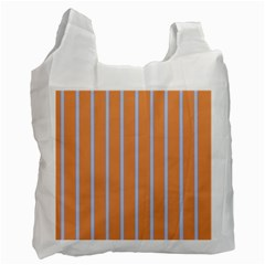 Rayures Bleu Orange Recycle Bag (one Side) by Mariart