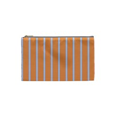 Rayures Bleu Orange Cosmetic Bag (small)  by Mariart