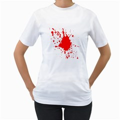 Red Blood Splatter Women s T Shirt (white) (two Sided) by Mariart