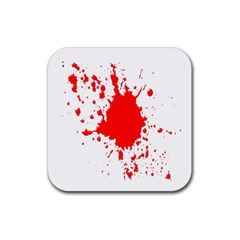 Red Blood Splatter Rubber Square Coaster (4 Pack)  by Mariart