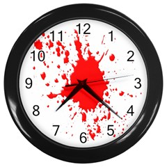 Red Blood Splatter Wall Clocks (black) by Mariart
