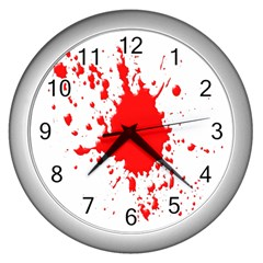 Red Blood Splatter Wall Clocks (silver)  by Mariart