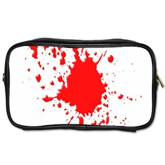 Red Blood Splatter Toiletries Bags by Mariart