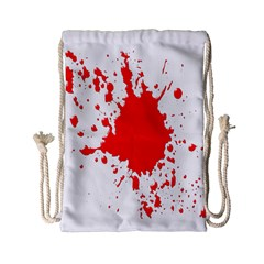 Red Blood Splatter Drawstring Bag (small) by Mariart
