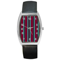 Red Blue Line Vertical Barrel Style Metal Watch by Mariart