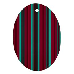 Red Blue Line Vertical Oval Ornament (two Sides)