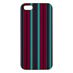 Red Blue Line Vertical Apple Iphone 5 Premium Hardshell Case by Mariart