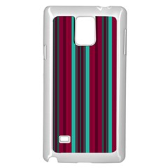 Red Blue Line Vertical Samsung Galaxy Note 4 Case (white) by Mariart