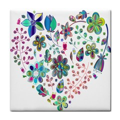 Prismatic Psychedelic Floral Heart Background Tile Coasters