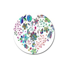Prismatic Psychedelic Floral Heart Background Magnet 3  (round)
