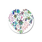 Prismatic Psychedelic Floral Heart Background Magnet 3  (Round) Front