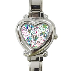 Prismatic Psychedelic Floral Heart Background Heart Italian Charm Watch by Mariart