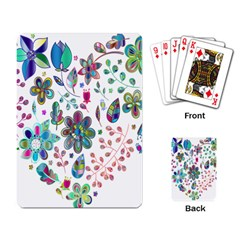 Prismatic Psychedelic Floral Heart Background Playing Card by Mariart