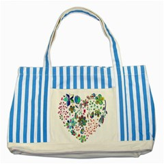Prismatic Psychedelic Floral Heart Background Striped Blue Tote Bag by Mariart