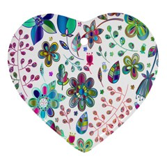 Prismatic Psychedelic Floral Heart Background Heart Ornament (two Sides) by Mariart