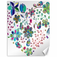Prismatic Psychedelic Floral Heart Background Canvas 18  X 24   by Mariart
