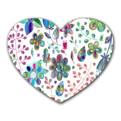 Prismatic Psychedelic Floral Heart Background Heart Mousepads by Mariart