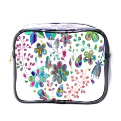 Prismatic Psychedelic Floral Heart Background Mini Toiletries Bags by Mariart