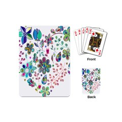 Prismatic Psychedelic Floral Heart Background Playing Cards (mini)  by Mariart