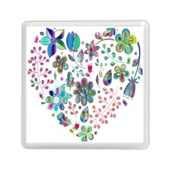 Prismatic Psychedelic Floral Heart Background Memory Card Reader (square)  by Mariart