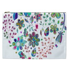 Prismatic Psychedelic Floral Heart Background Cosmetic Bag (xxl)  by Mariart